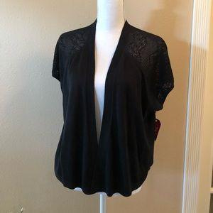 Black Short Sleeve Sweater ~ Cardigan/ Shrug